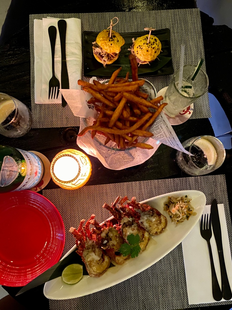 Crayfish, beef sliders, and sweet potato fries at IWAS @ The Bar by Ethnik Club Cuisine.